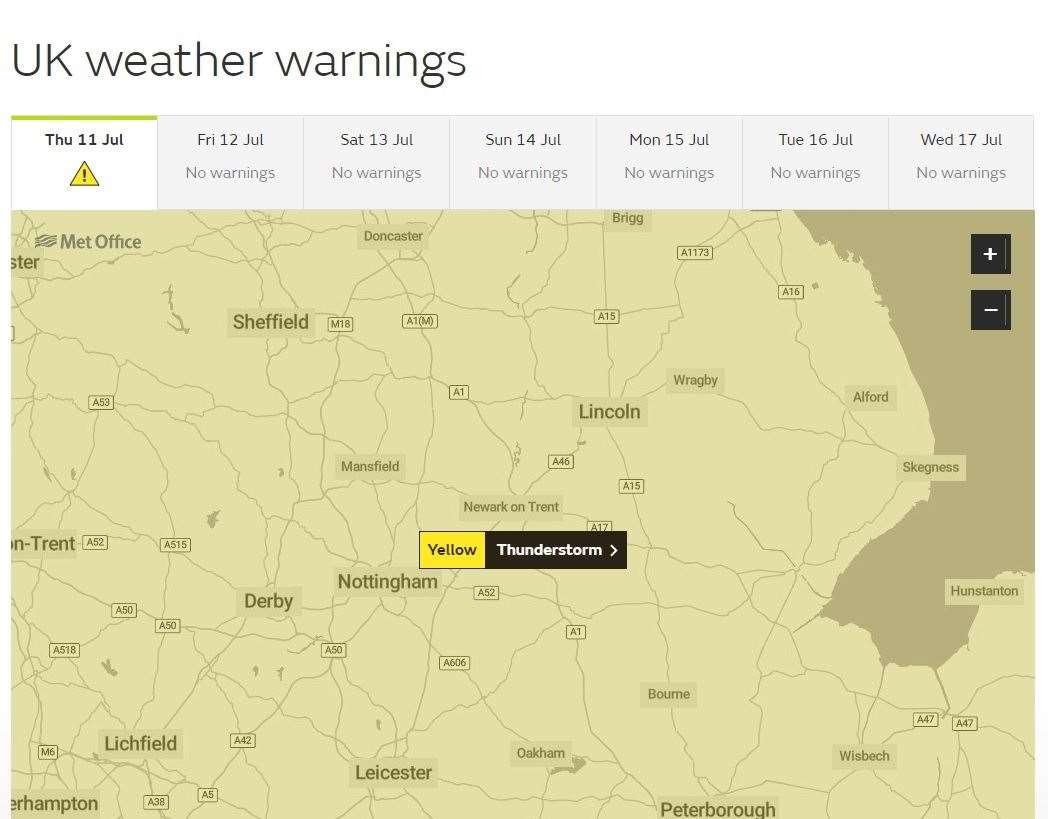 Yellow warning of thunderstorms today (13683083)