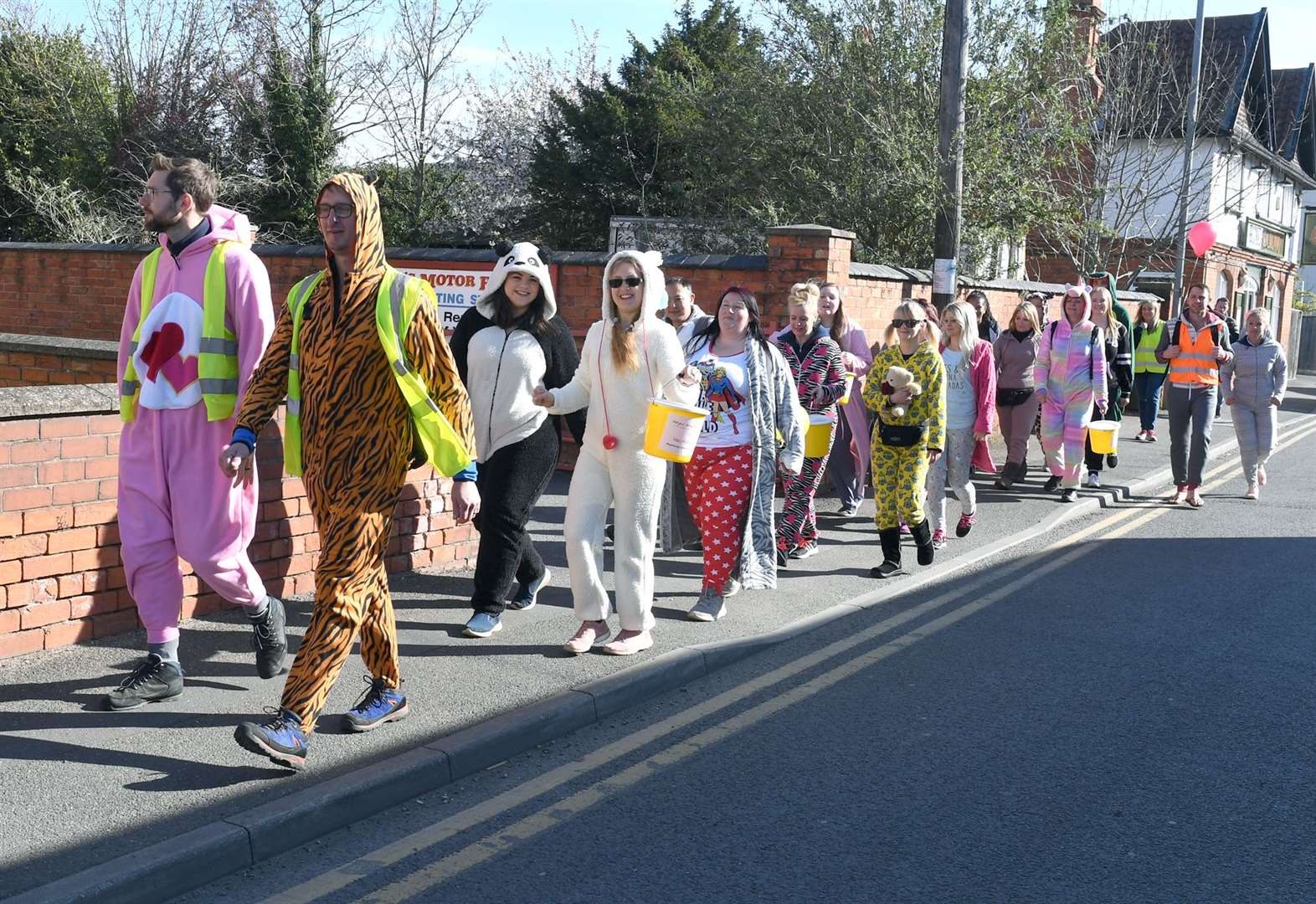 Roadside larks and donations on onesie walk