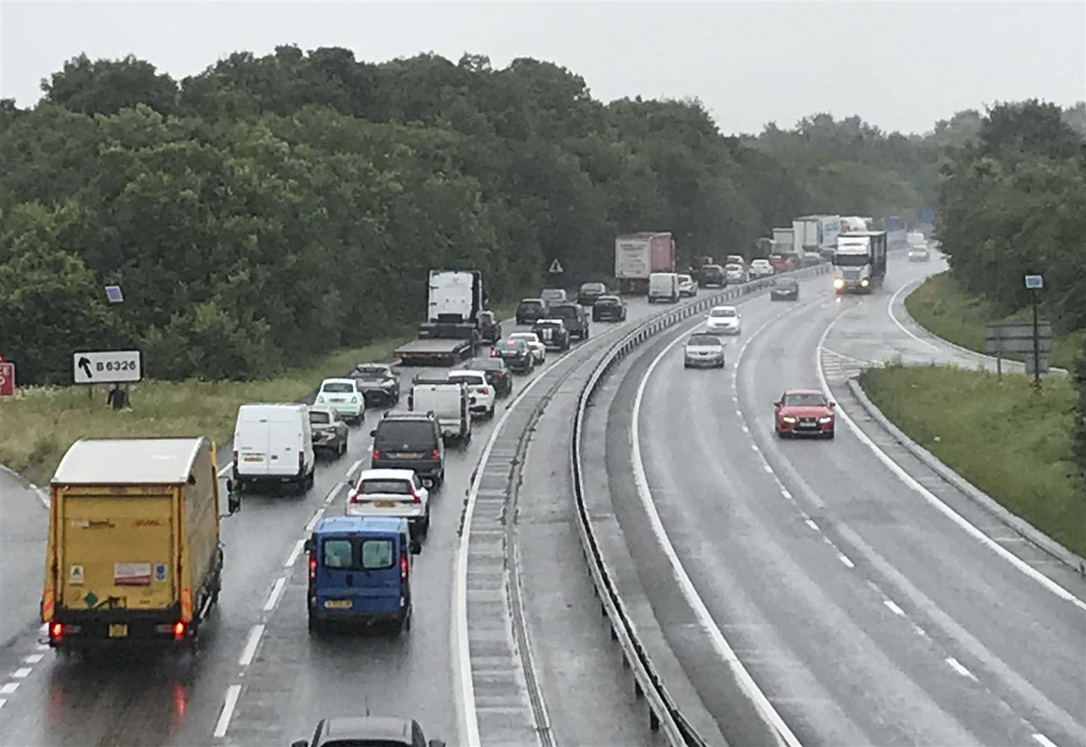 Stationary traffic on A1 as summer getaway begins