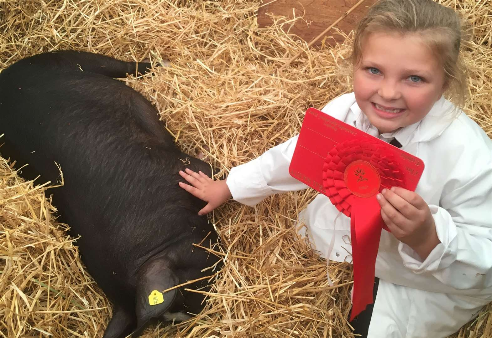 Skyla and Dollee the pig win at Lincolnshire Show