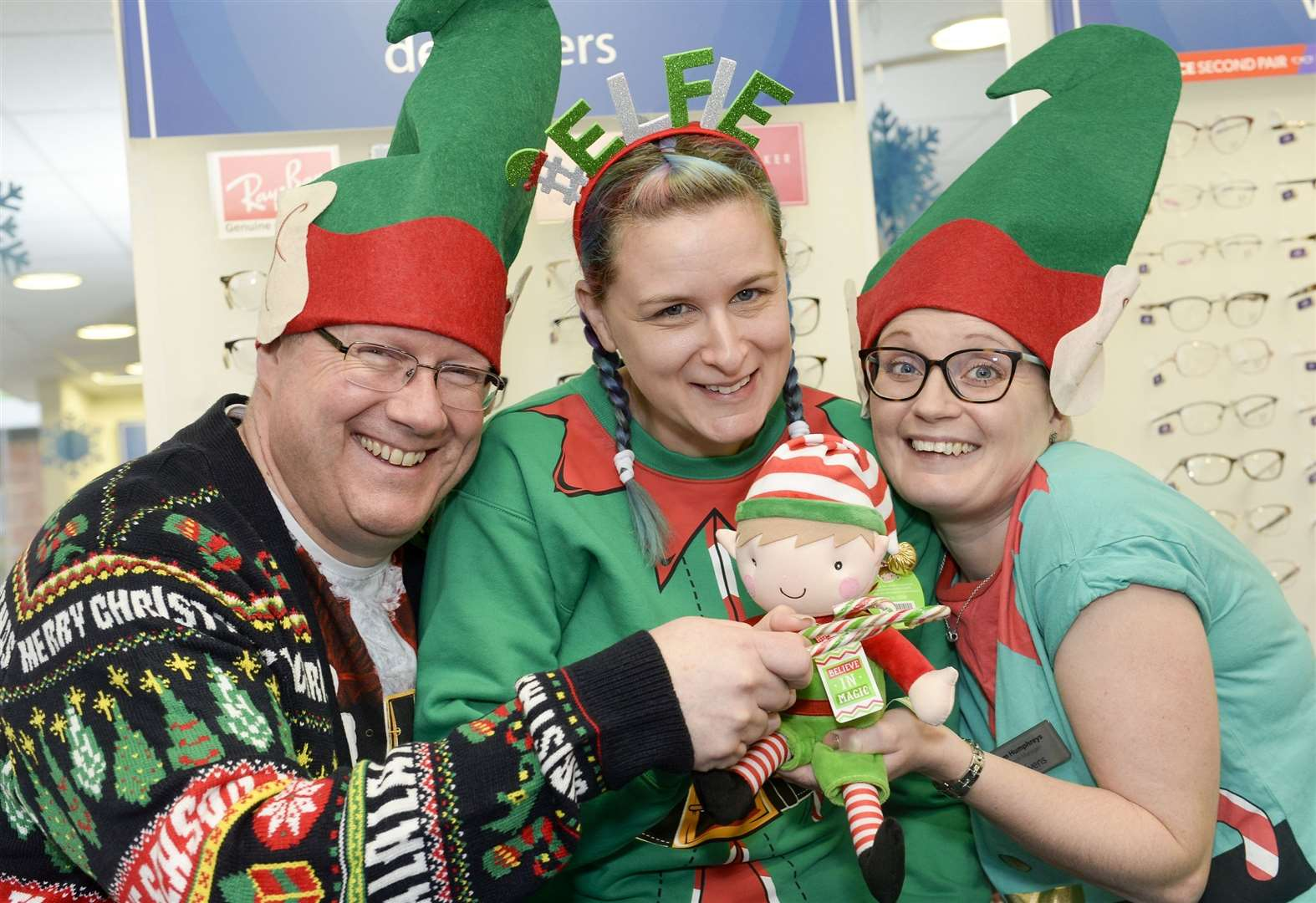 Optician staff elf around in aid of a good cause