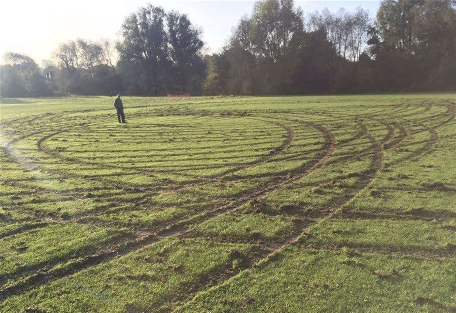 Vandals damage Southwell football pitch