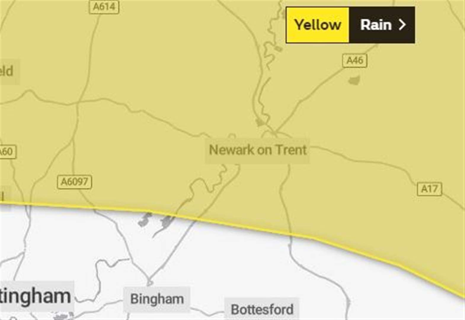 Weather warning issued for Newark