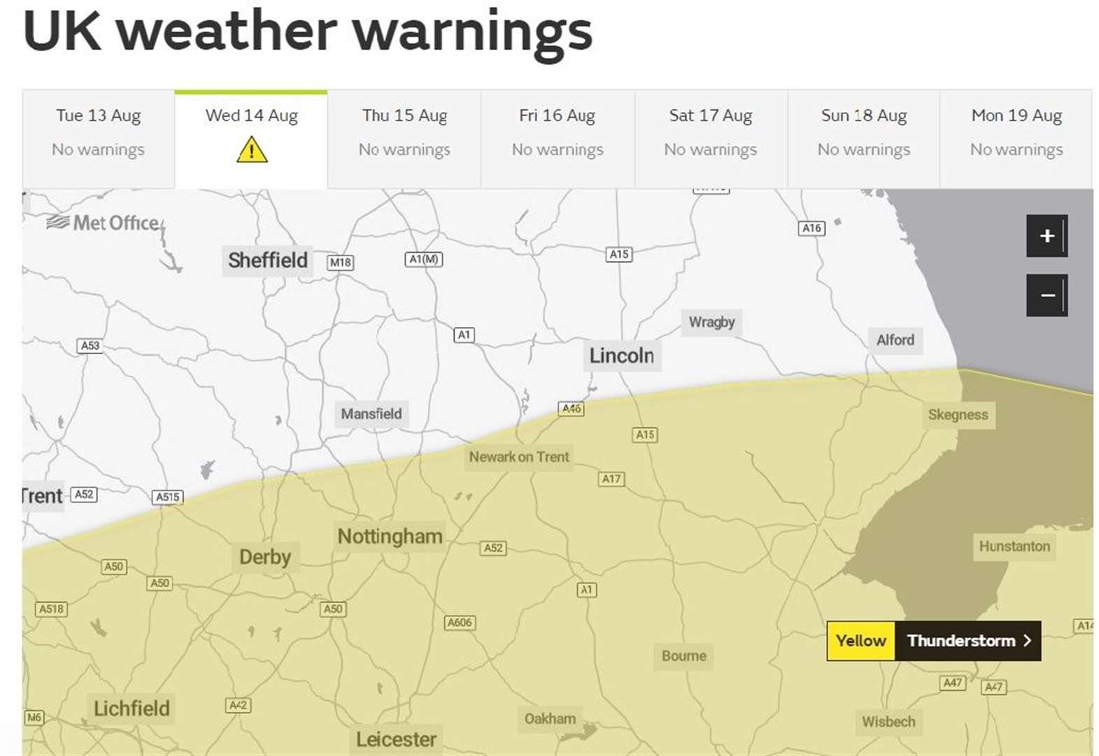 Another yellow thunderstorm warning