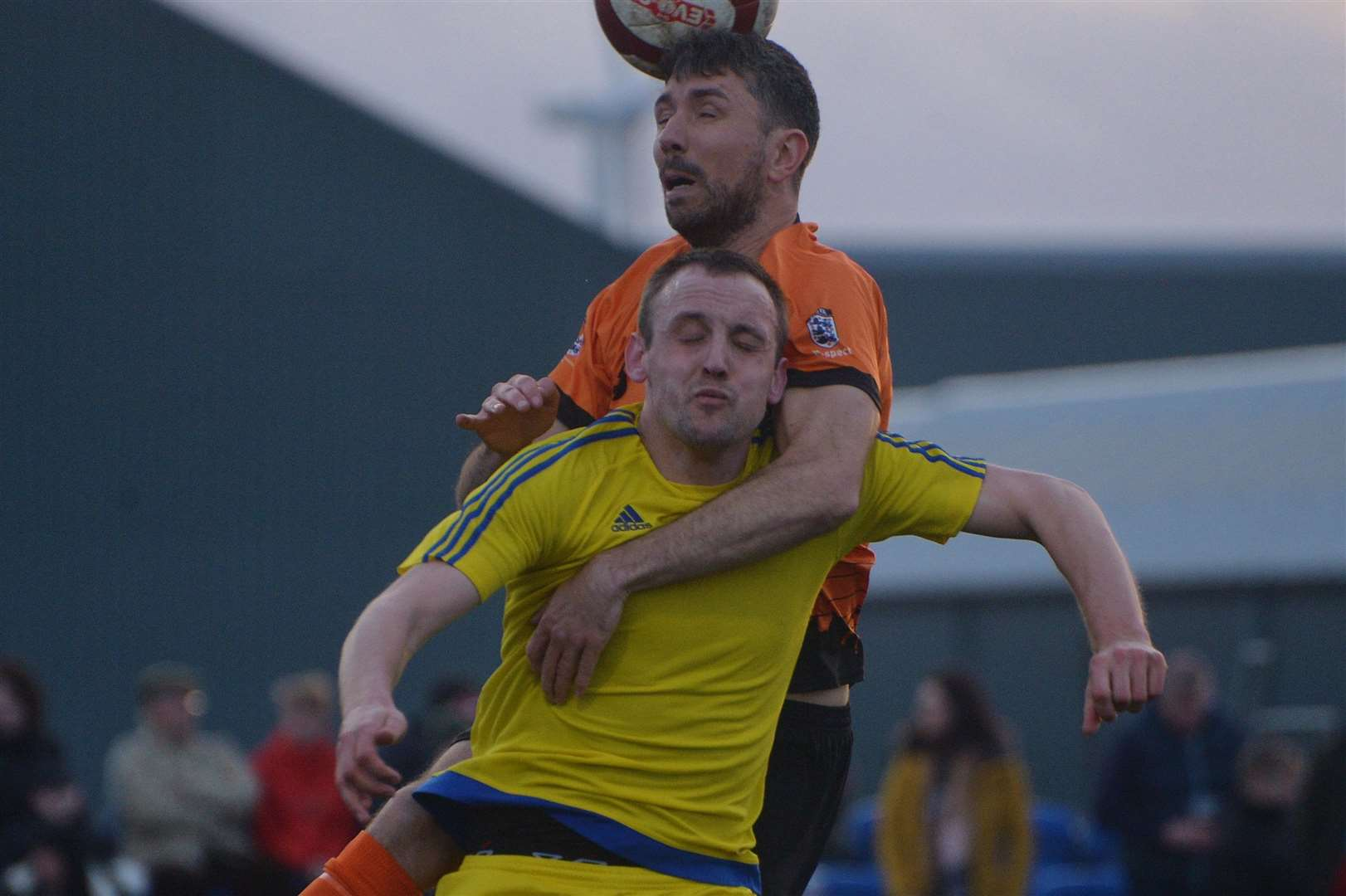 Flowserve's Rhys Lewis climbs all over a Selston player to reach a header. 291218DC1-15. (6253168)