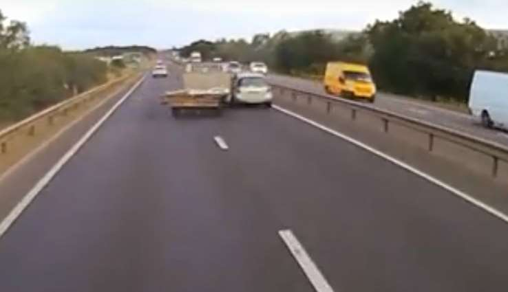 This dash-cam footage shows the collision on the A1 northbound