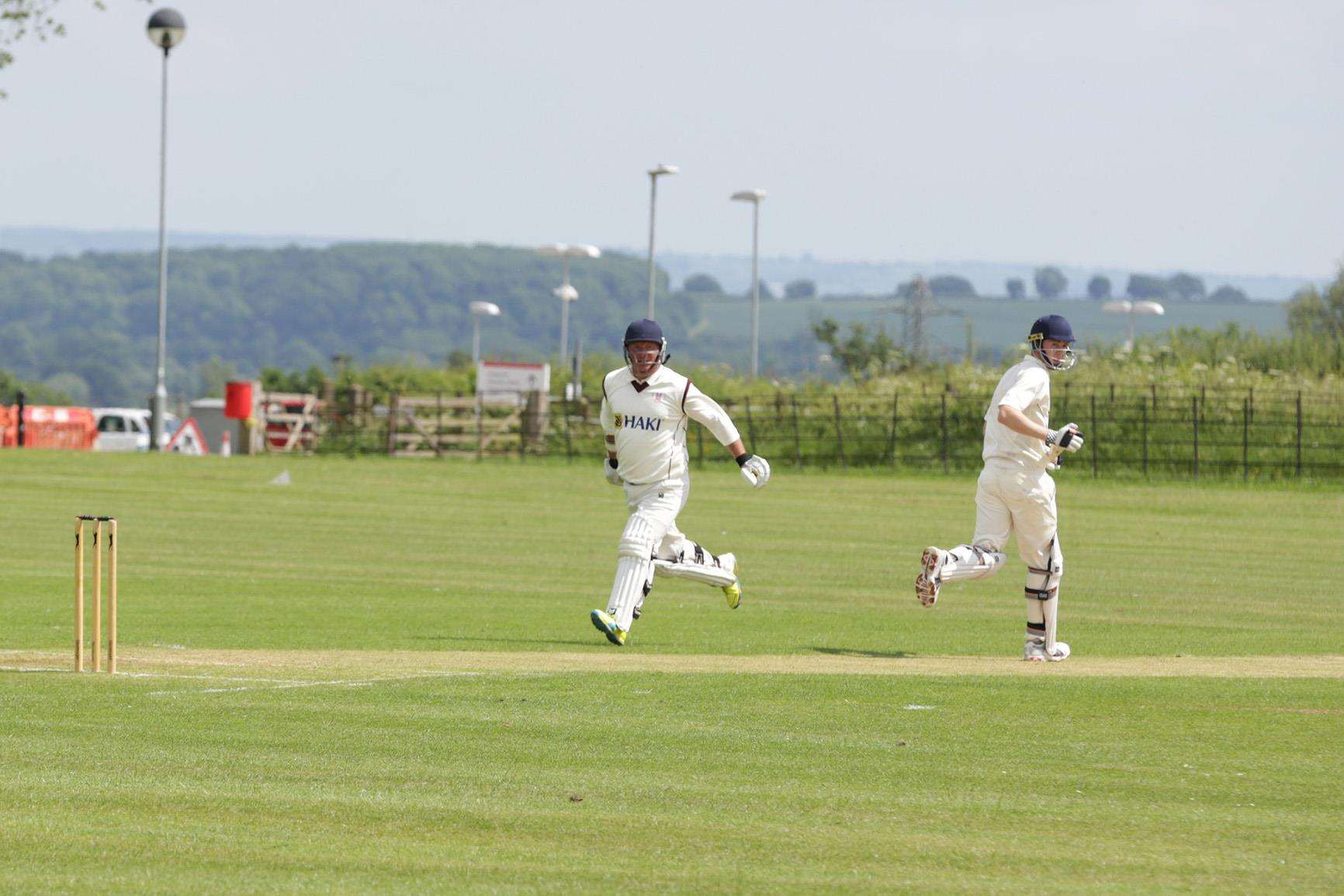 Chris Miller and Tom Clarke complete a single for Southwell against Sherwood Casuals