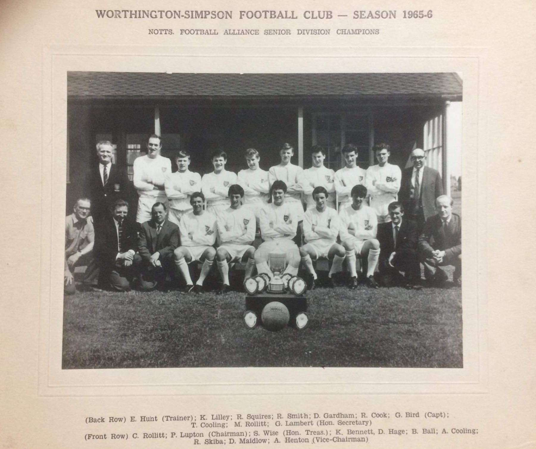 Worthington Simpson Football Club, Notts Football Alliance Senior Division Champions — Season 1965/66. Alvyn Cooling is pictured on the front row, fourth from the left.