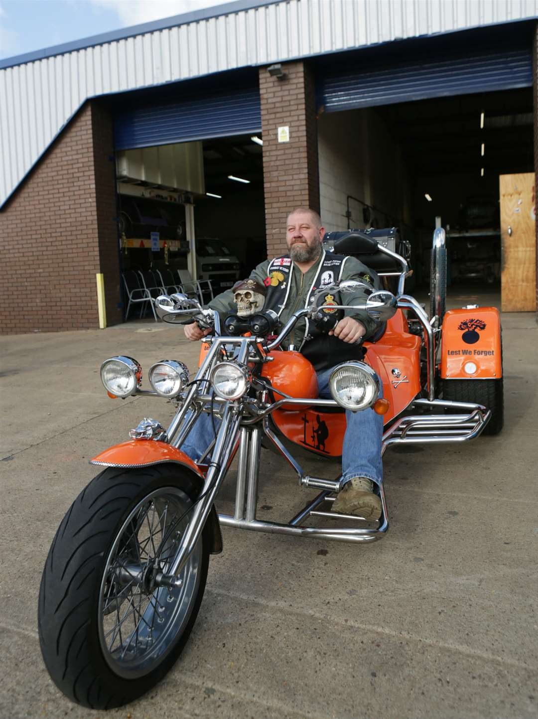 Dean Cumberpatch on his Rewaco VW trike outside Classic Motors Ltd, on Newark Industrial Estate, which ensured the trike was roadworthy for the trip to the National Memorial Arboretum