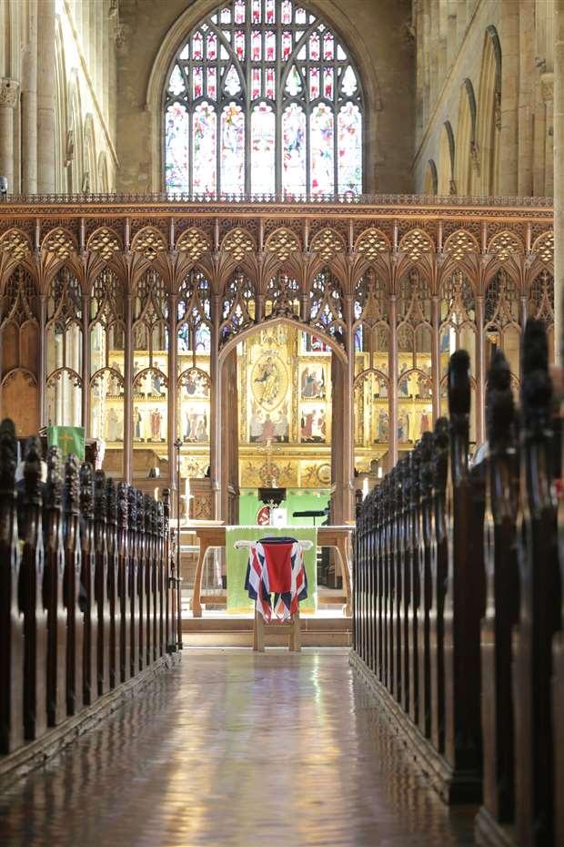 The coffin of former RAF Bomb Aimer Jim Auton rests               in Newark Parish Church. 060220TV2-2