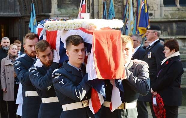Jim Auton's Union Flag-draped coffin. (28526924)