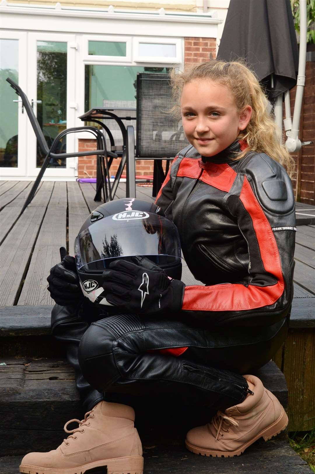 Faith Tacey, 11, from Farndon, who is campaigning for motorcyclists to wear protective clothing. (4165707)