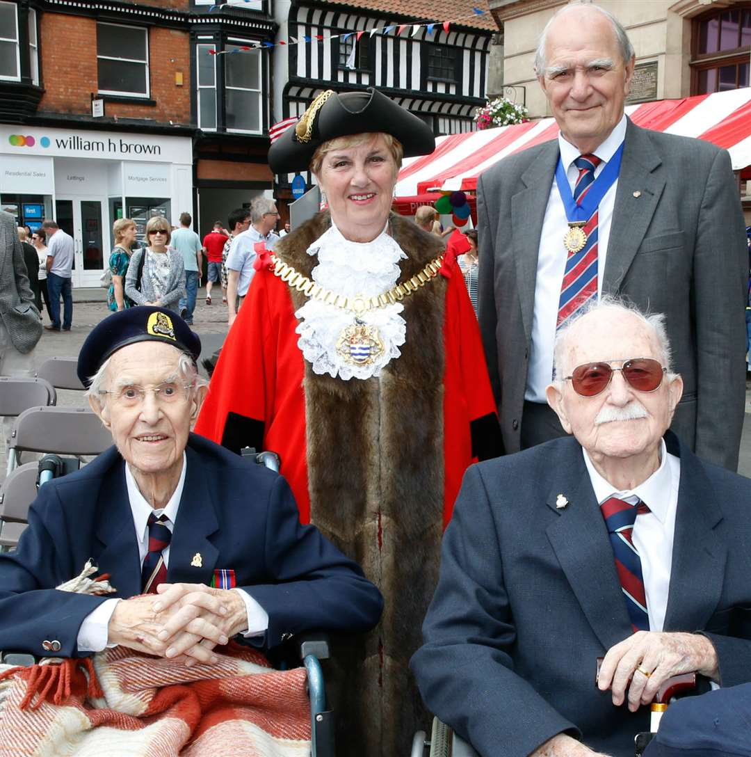 The Mayor of Newark, Mrs Rita Crowe, and her consort, Mr Rob Crowe, with veterans Mr Norman Dannatt, 97, and Mr Kenneth Baines, 98. 250617LSP1-17