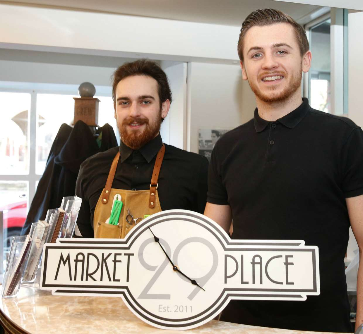 Two of the staff at 29 Market Place, Bingham, which provides hair-cutting and grooming services