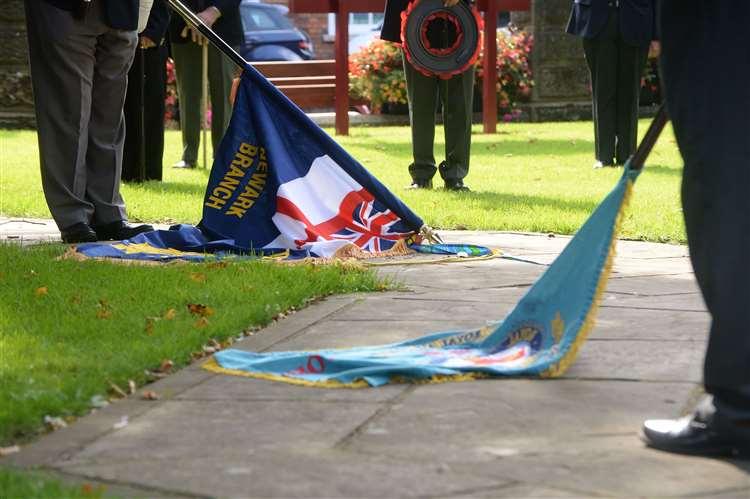 VETERANS were socially distanced during their               breakaway Battle of Britain tribute at Newark War Memorial               on Sunday morning.