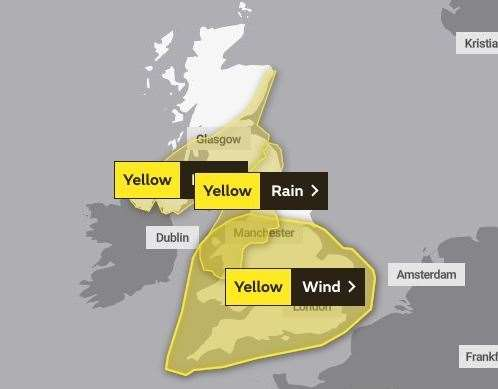 A yellow weather warning is in place for tomorrow and Wednesday (August 24 and 25)