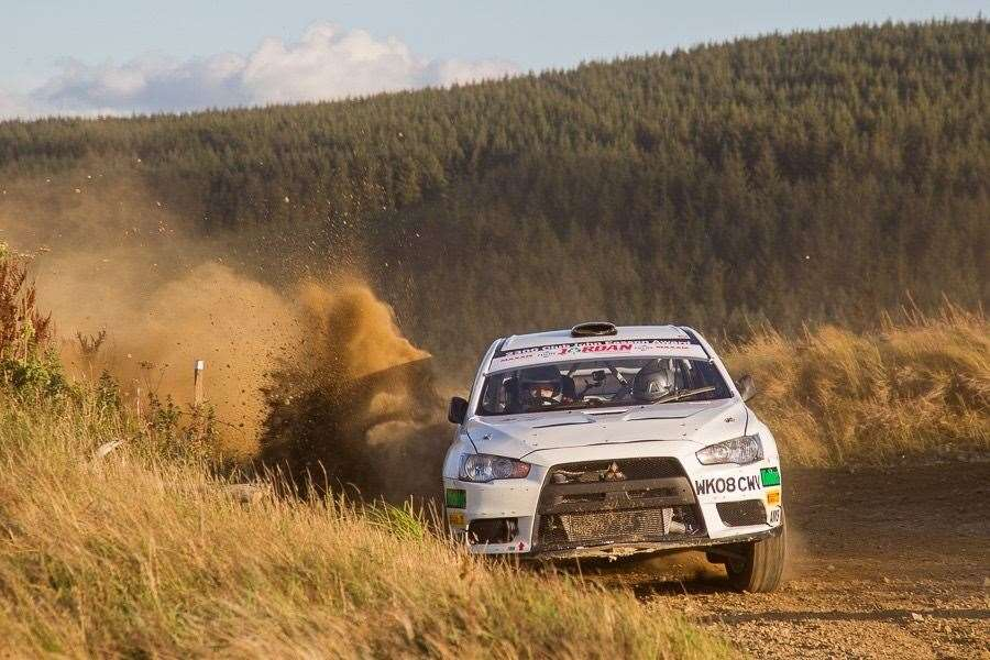 GEORGE LEPLEY, driving a Mitsubishi Evo X, finished second overall at the Woodpecker rally in Ludlow.