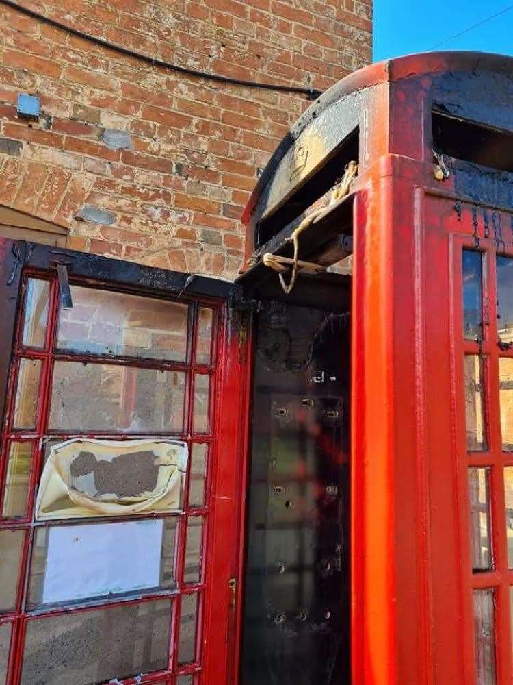 The phone box at Farndon was damaged by fire. (46415750)