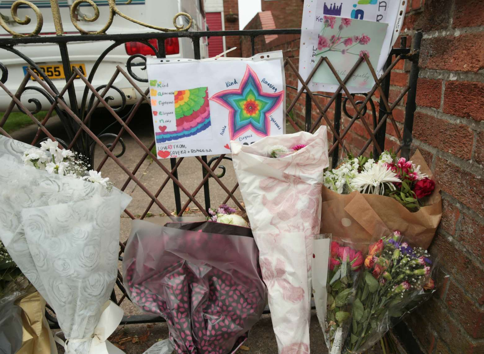 Floral tributes left outside the house on Millgate, Newark