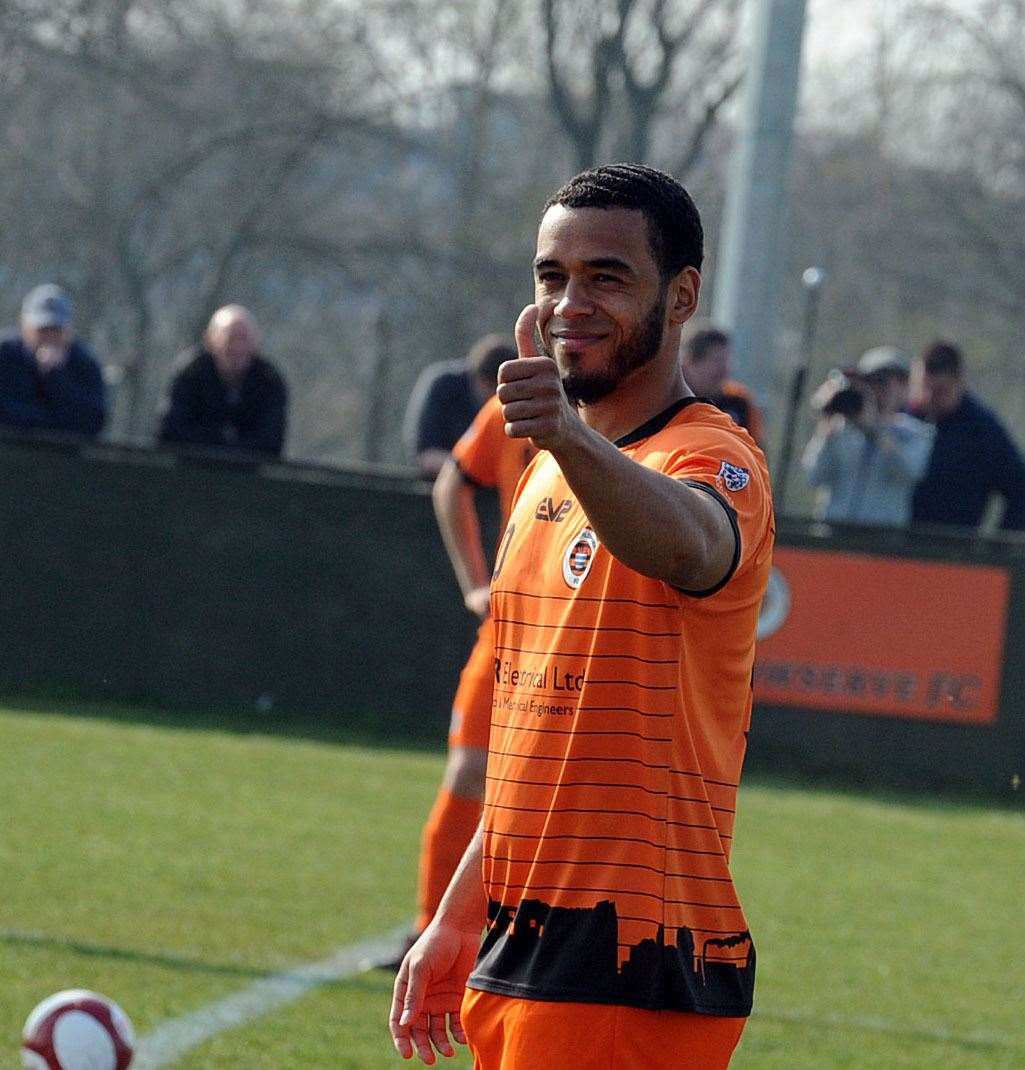 THUMBS UP: Shannon-Lewis scored his 24th goal of the season at Barrow.
