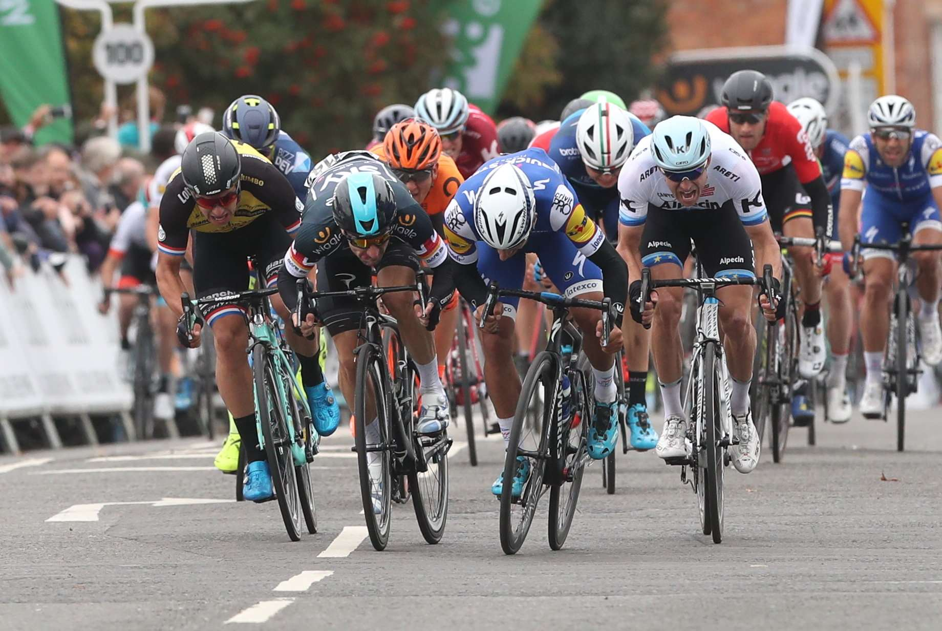 Riders battle for position in a sprint finish at Newark, in the Tour of Britain's fourth stage. Photograph: SWPix
