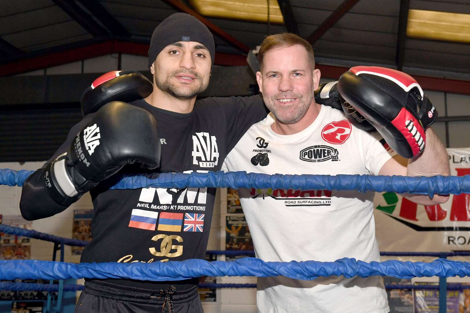 Carl Greaves with boxer David Avanesyan, who is defending his European belt.