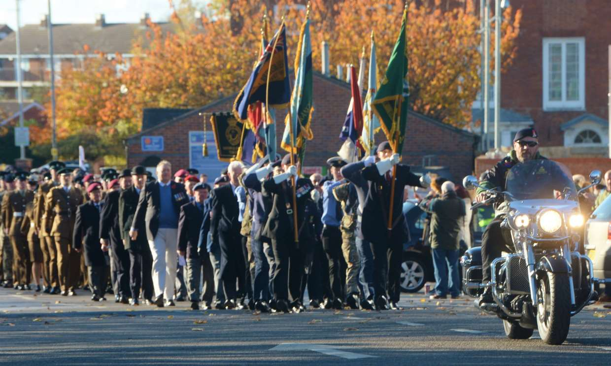 The parade leaves London Road carpark led by Royal British Legion biker branch member Nick Saxby, from Balderton. 121117DC1-9