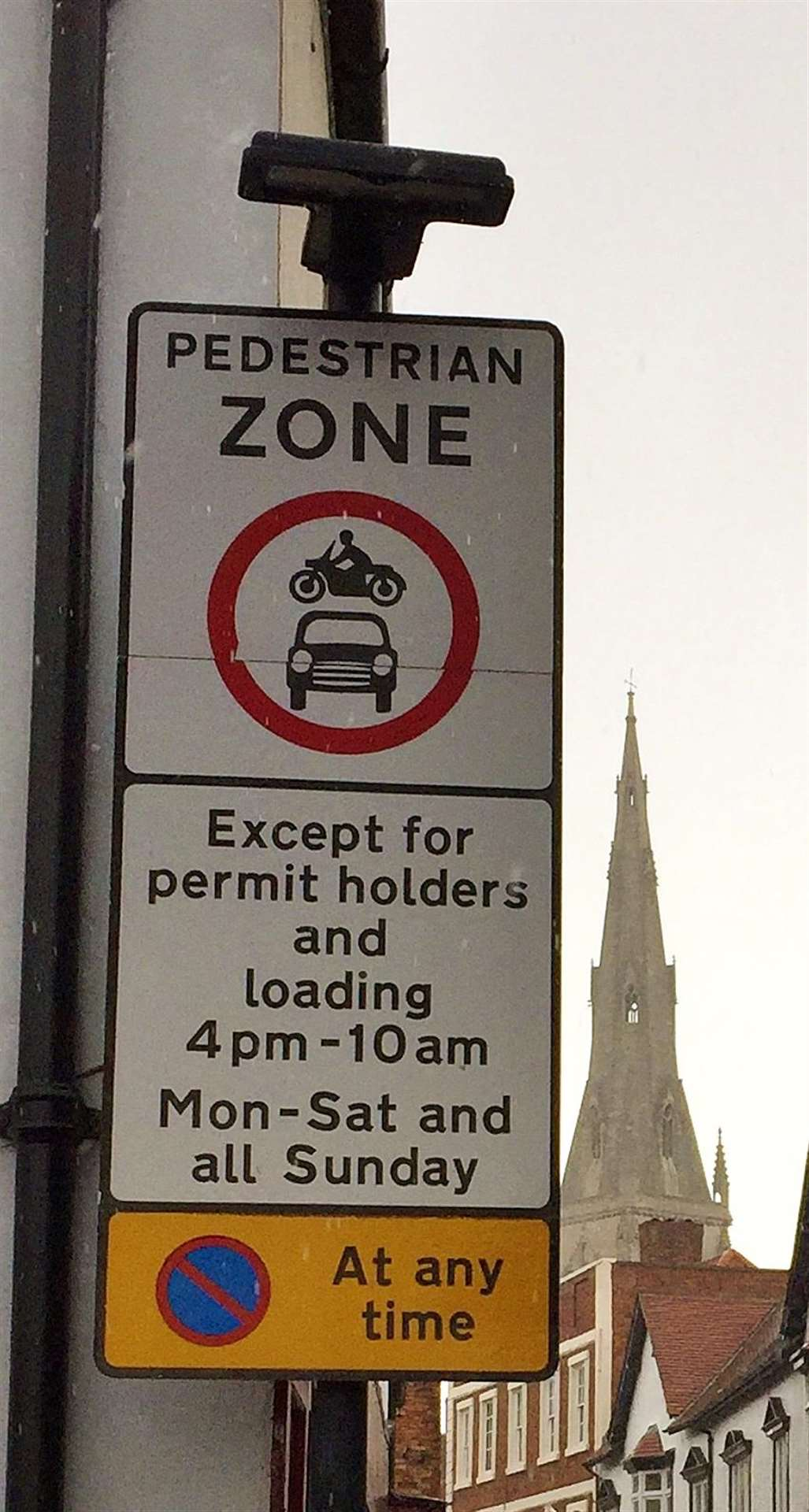 The sign indicating a pedestrian zone on the streets