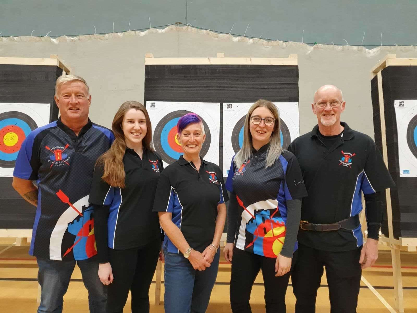 NEWARK Castle Archers' record-breakers are, from left to right, Steve Pepper (Longbow) Amy Barnes (recurve) Mandie Elson (barebow) Marti Voce (recurve) and Ian Pepper (recurve).