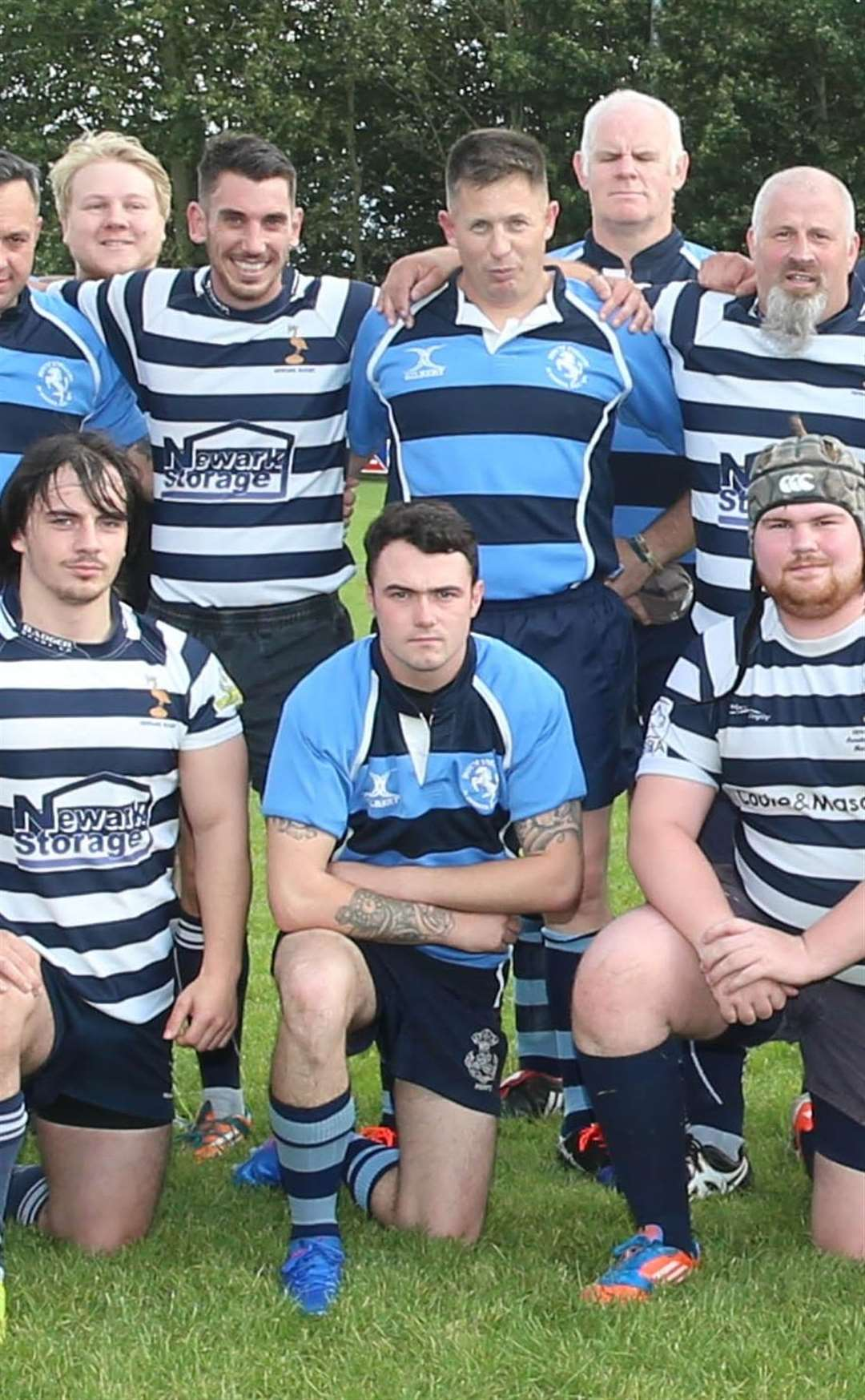 ADAM HOWARD (centre kneeling) lines up for 36 Engineer Regiment in the match in memory of Sean Violino.