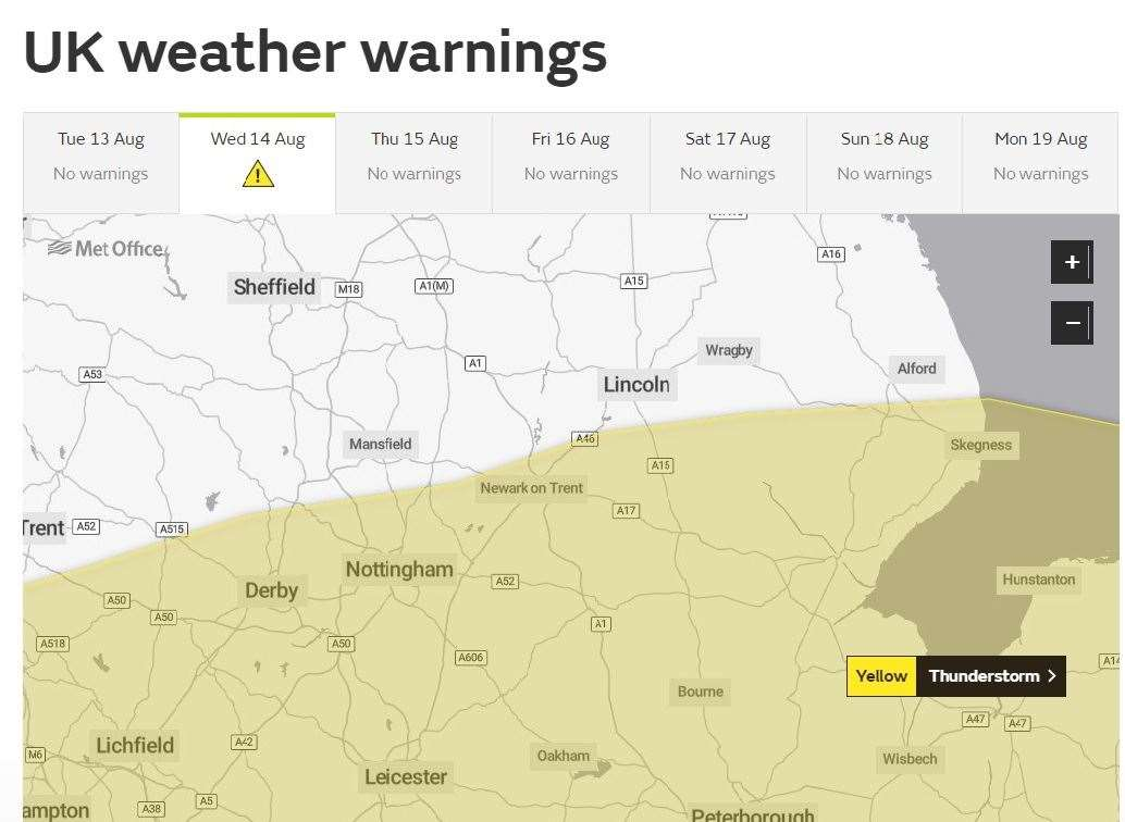 A Met Office weather warning for the East Midlands. (15182754)