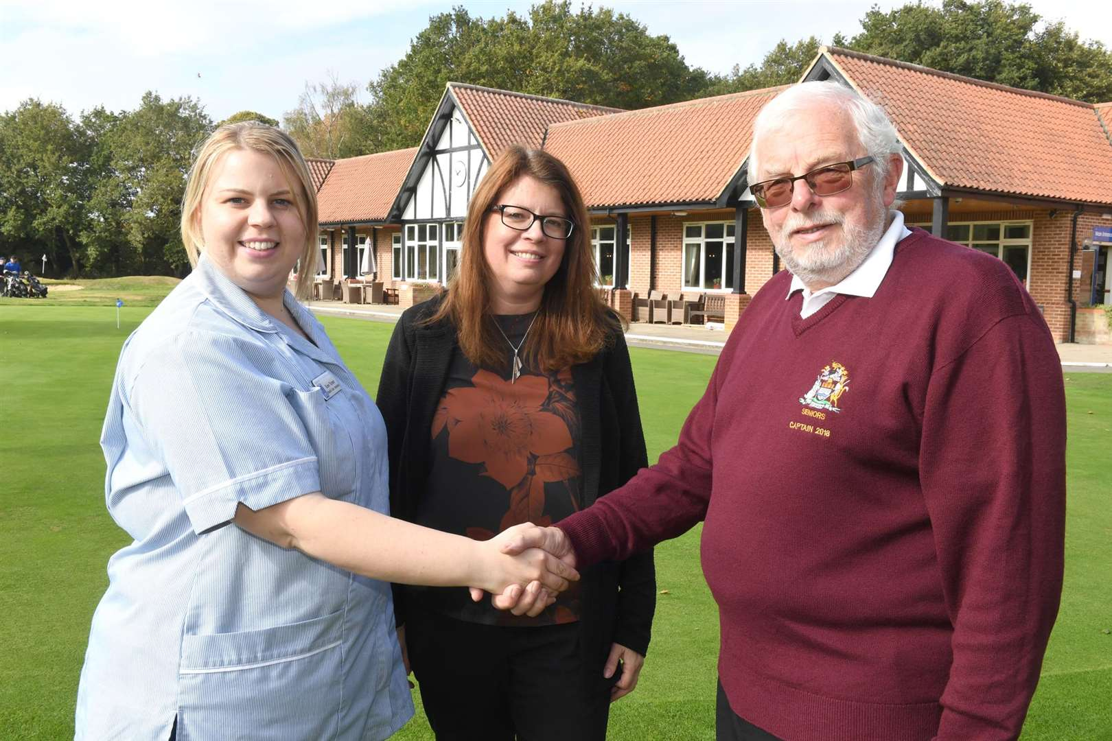 Newark Golf Club Seniors present cheques to charities after fundraising throughout the year..L-R Mrs Rose Turner - health and care assistant at Beaumond Hospice, Mrs Kate Baxter - Childrens' Bereavement Centre, director, Keith Martin Seniors' Captain.. (4608040)