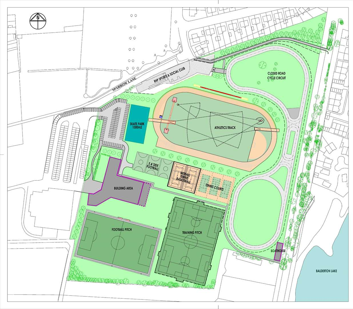 The site plan showing the position of pitches and other sports facilities.