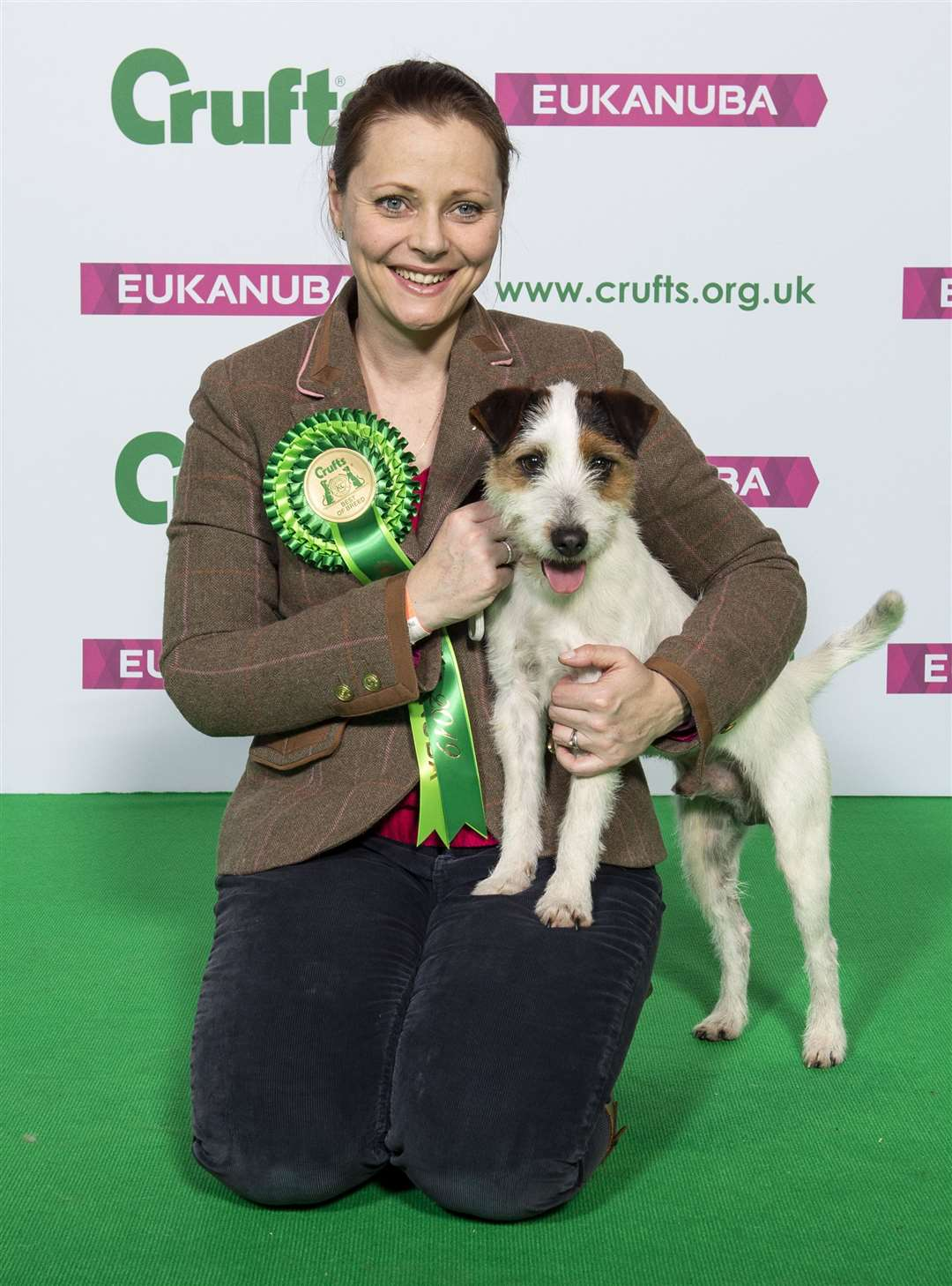 Picture shows Sarah Broadberry from Southwell with Stanley a Parson Russell Terrier, which was the Best of Breed winner today, (Saturday 09.03.19) the third day of Crufts 2019 at the NEC, Birmingham. ..For more information please contact the Press Office via: T: 020 7518 1008 / 1020.E: press.office@thekennelclub.org.uk..Free for editorial use image, please credit: BeatMedia..If you require a higher resolution image or you have any other photographic enquiries, please contact BeatMedia on 020 3026 3780 or email hello@beatmediagroup.co.uk.. (7728582)