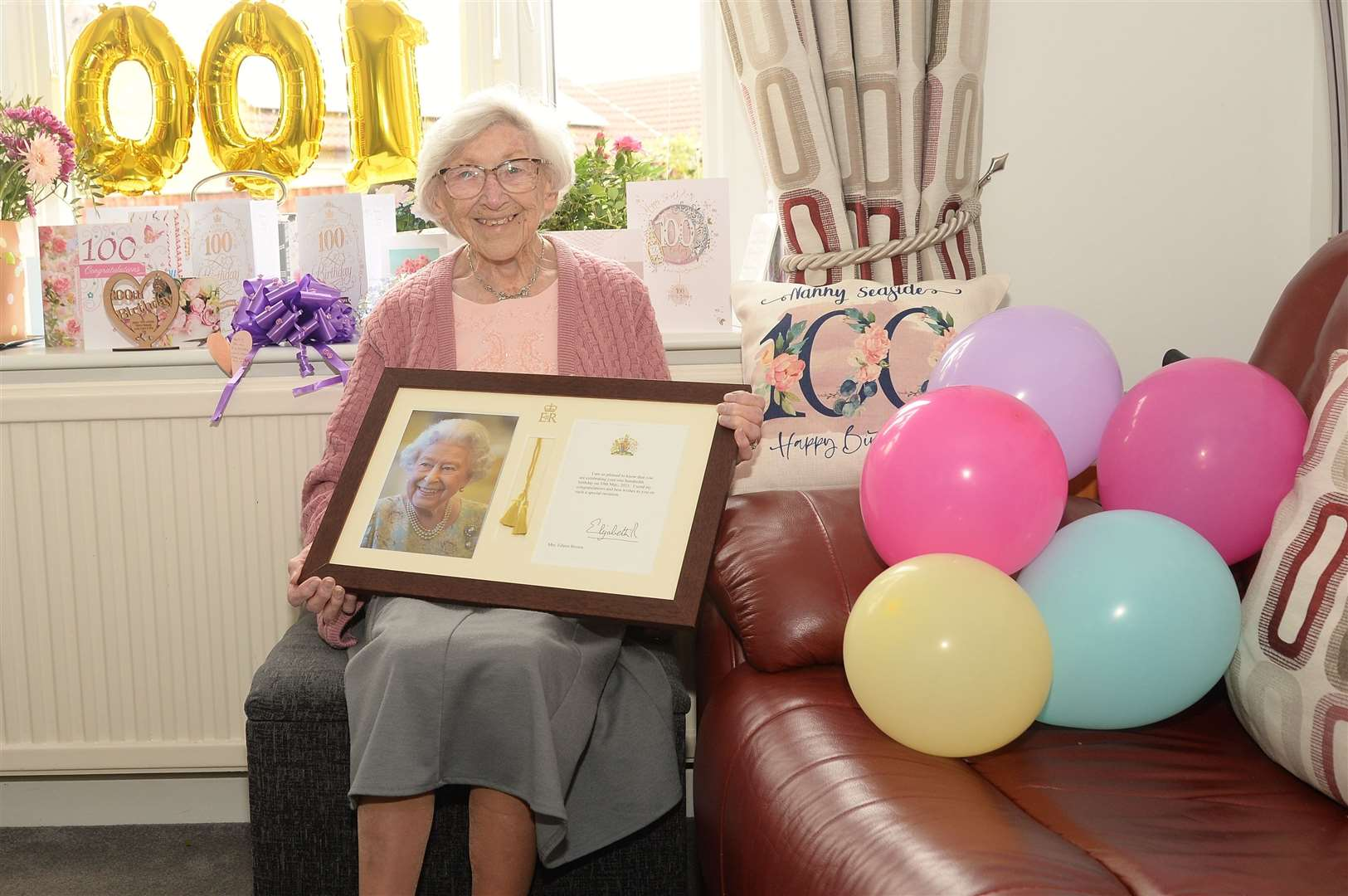 Eileen Brown, Nanny Seaside who has a pillow that says so, turned 100.  (47377039)