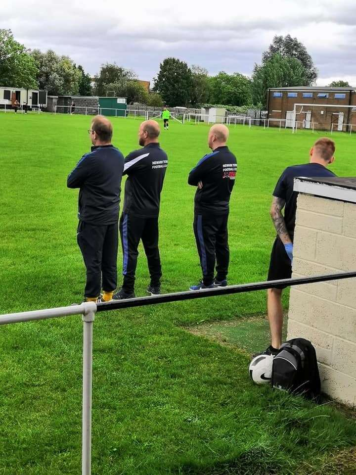 Newark Town's management team watch on. Credit: David Hurstfield (15086055)