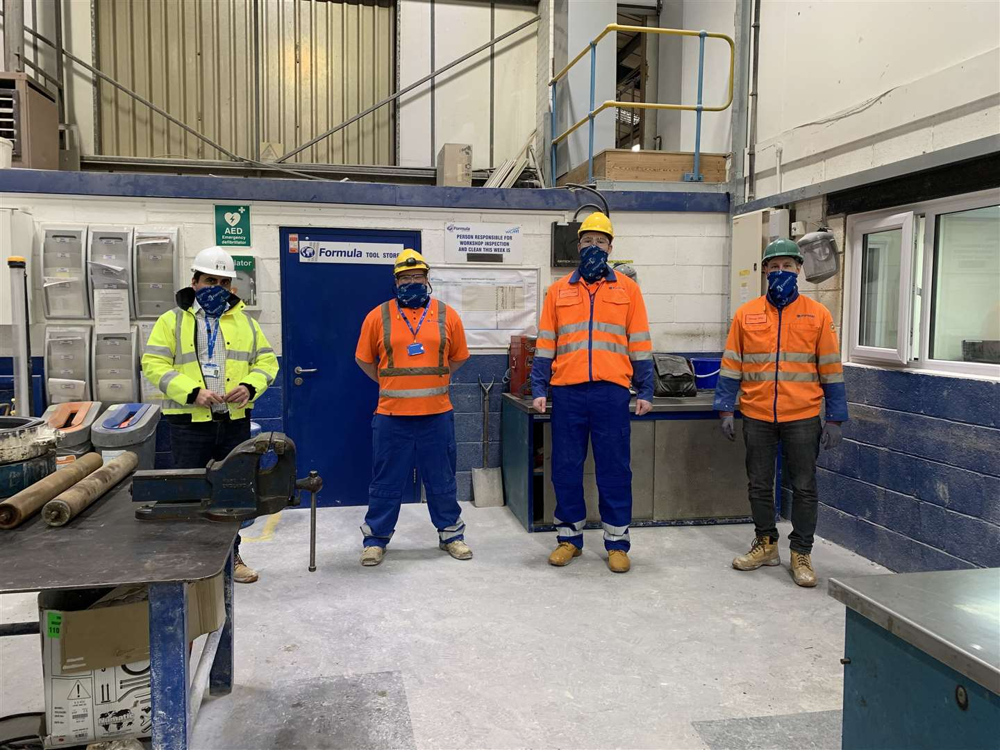 Celebrating dual skilling apprentices at Saint-Gobain Formula's Jericho Works - from left to right: Jamal Chaya, Plant Manager; Daniel Crevald, Electrical Apprentice; Jamie Dawes, Electrical Apprentice; andDaniel King, Engineering Manager. (44265872)