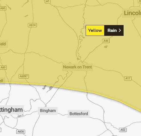 Newark has been hit with a yellow weather warning. (20930601)