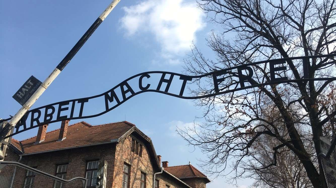 The infamous Arbeit Macht Frei sign which translates as 'work will set you free'.
