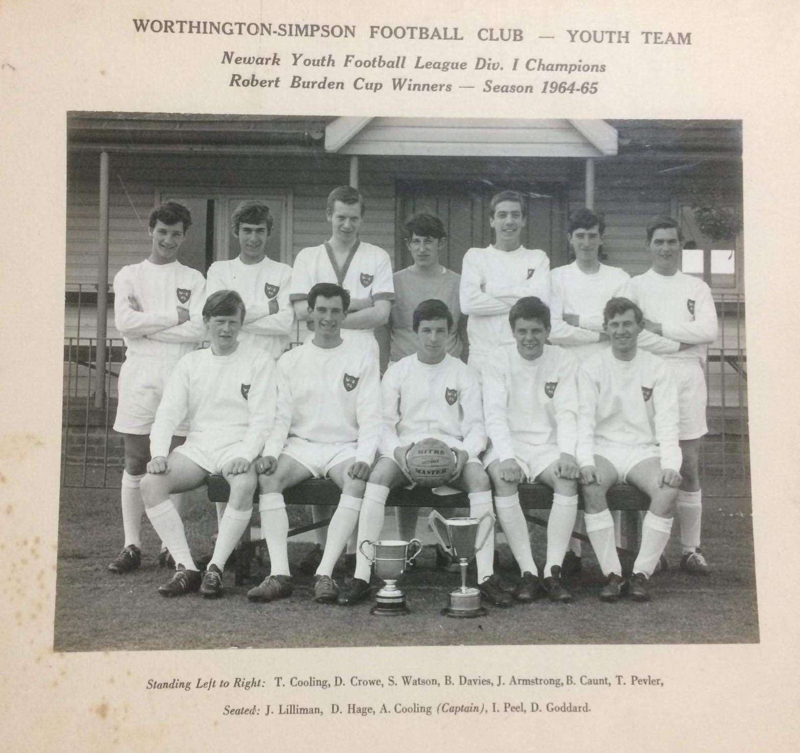 Worthington Simpson Football Club, Newark Youth Football League Div. 1 Champions. Robert Burden Cup winners — Season 1964/65. Alvyn Cooling is pictured in the centre on the front row.