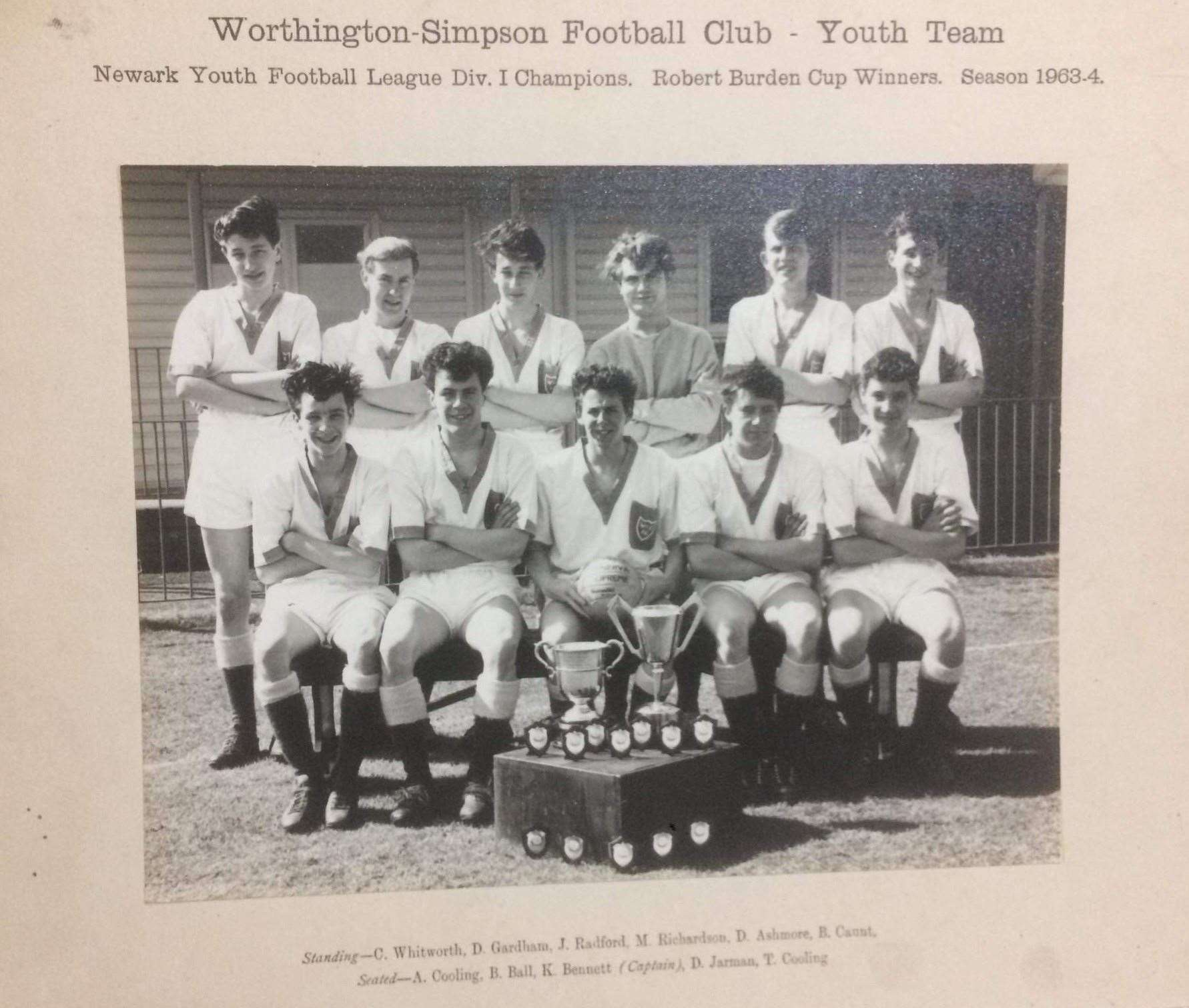 Worthington Simpson Football Club, Youth Team. Newark Youth Football League Div. 1 Champions and Robert Burden Cup winners — Season 1963/64. Alvyn Cooling is pictured on the front row, first from the left.