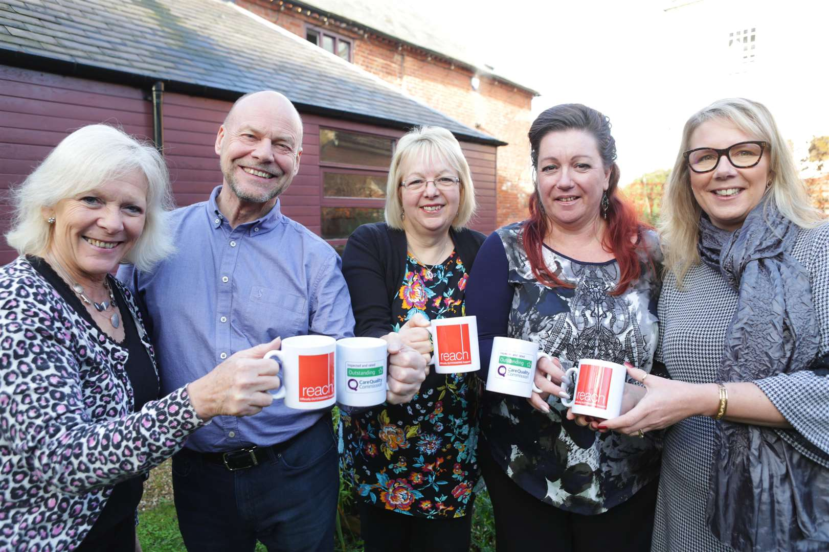 Celebrating an outstanding rating for Reach Learning Disability Care are lef to right care coordinator Sandra Dickinson, chief executive Steve Shatwell, deputy care manager Jayne Dobbs, senior administrative officer Dawn Moore and registered care manager Dani Noquet. (6135441)