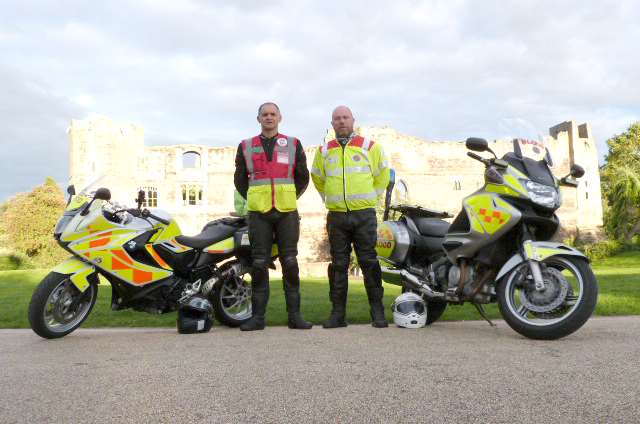 Blood bikers: Former RAF dog handlers Martin Cadogan (left) and Ian Firth