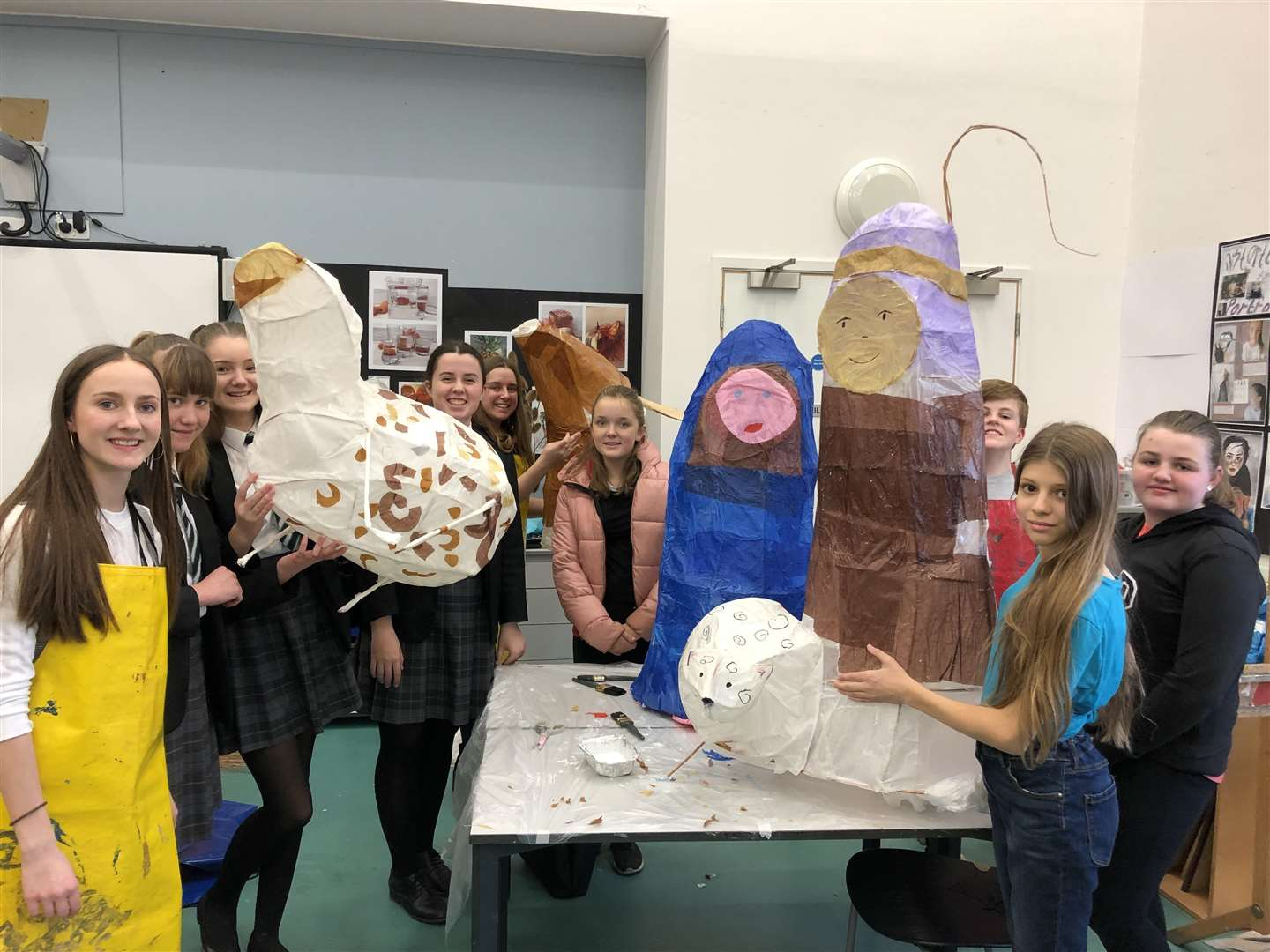 Students from Southwell Minster Secondary School took part in a lantern workshop ahead of the walk. (5827246)