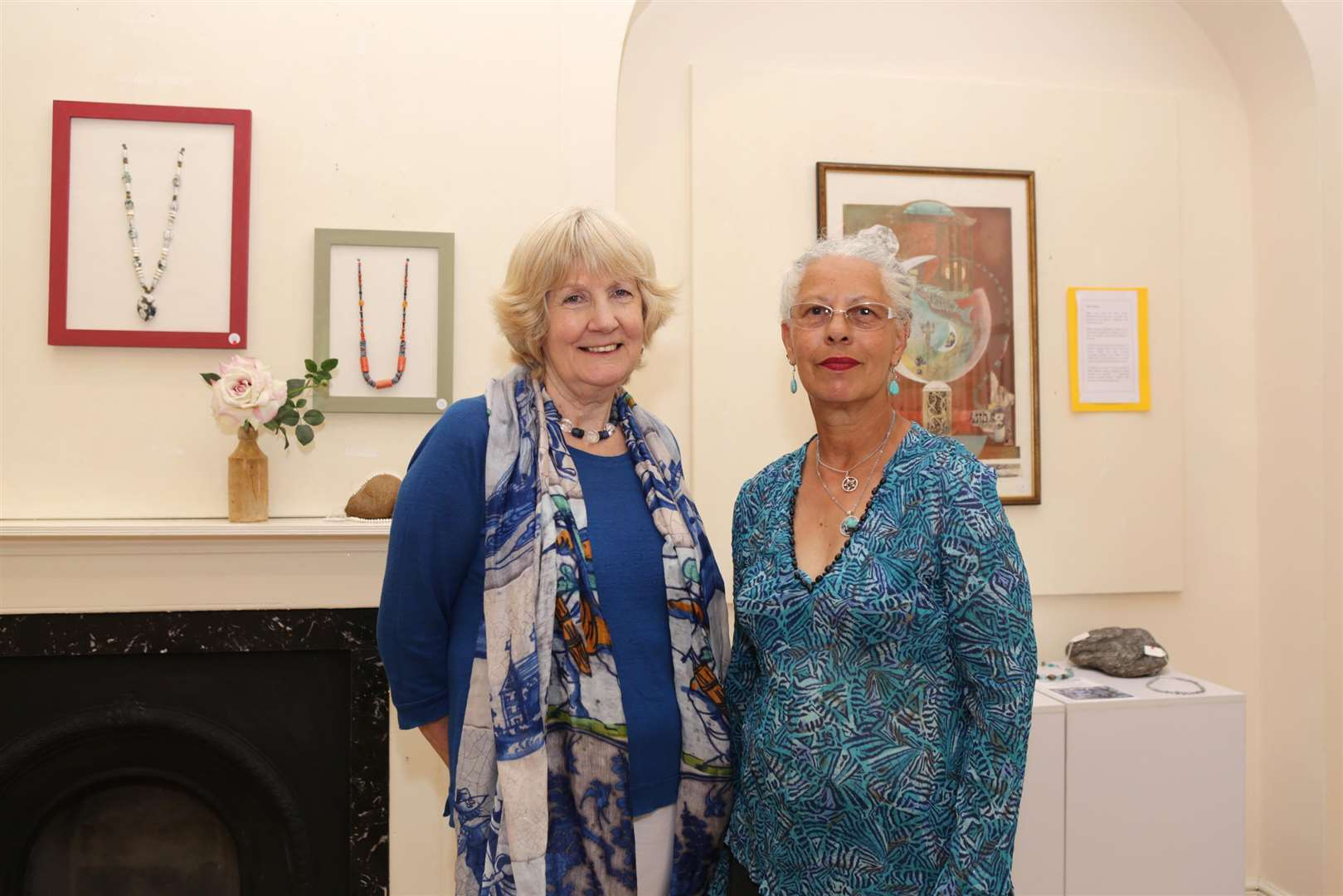 Jewellery designer Jenny Dalton with artist Nadia Ming. Their work is on show in the Spotlight Gallery at Newark Town Hall, along with pieces by Deb Gilham. 030718TV2-1