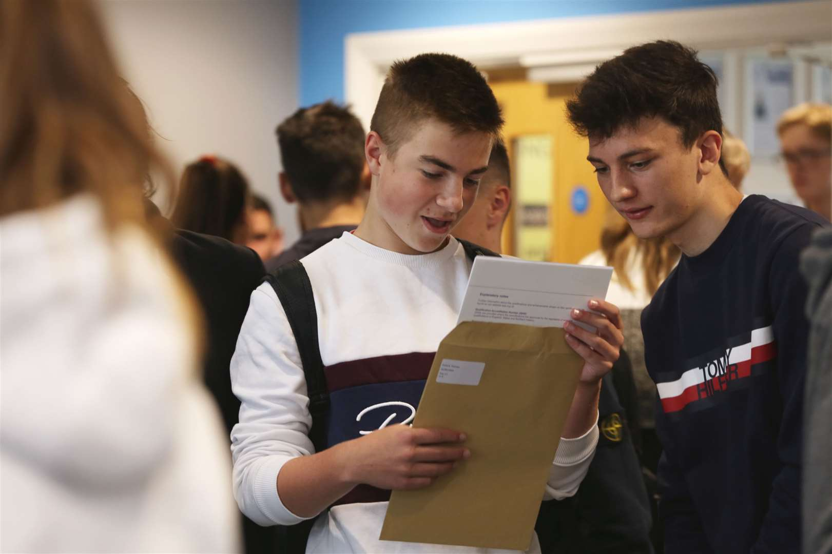 Pupils review their G.C.S.E results at Toot Hill School, Bingham. 220819TV1-8. (15600986)