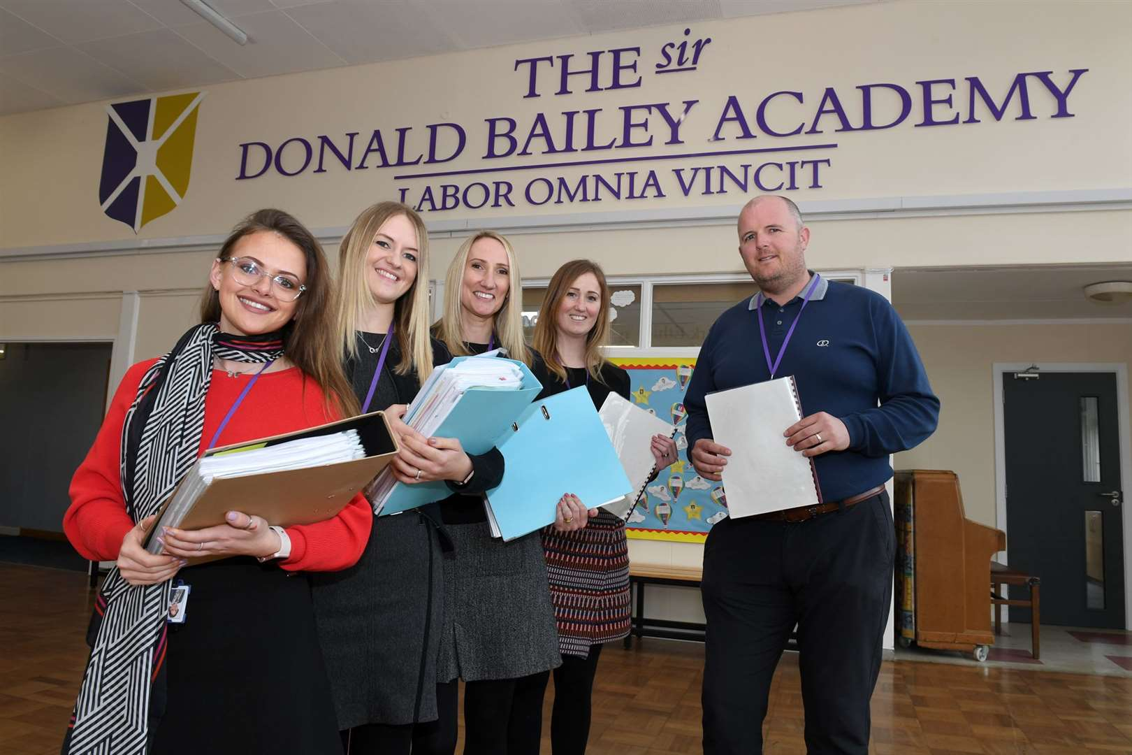 LEFT TO RIGHT: Jessie English, Sophie Longney, Mrs Louise Connolly, and Laura Davies with school principal Lee Hessey.