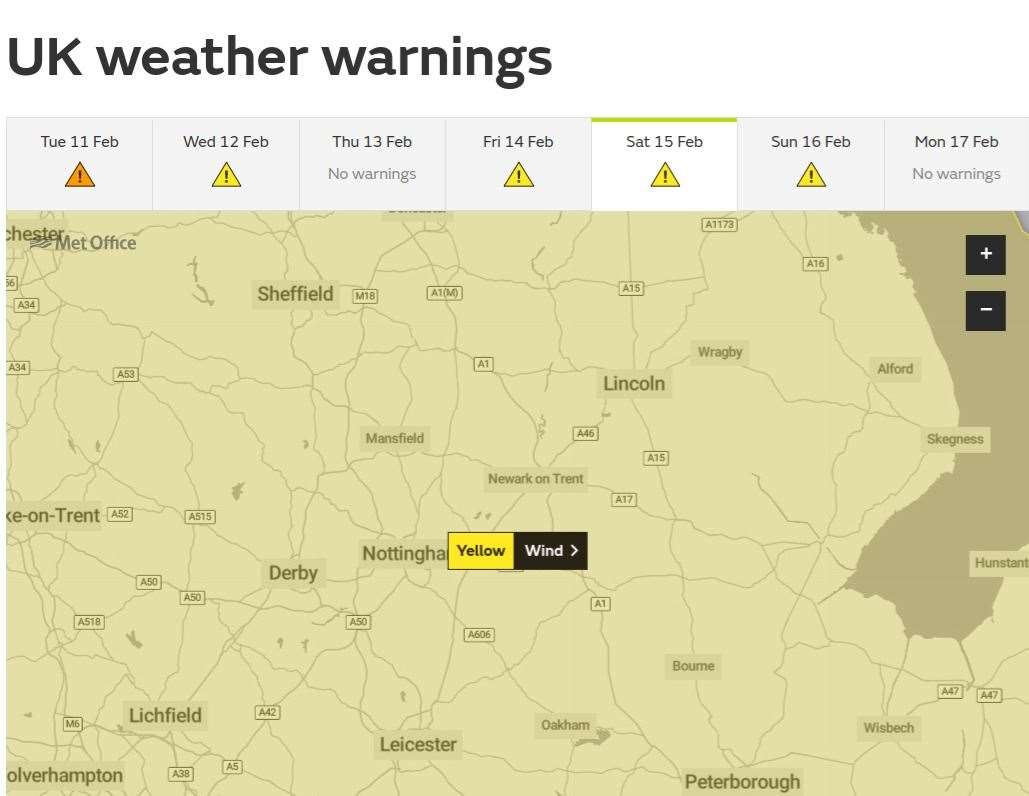 The Met Office has issued a weather warning for Saturday due to Storm Dennis. Photo: Met Office (28937496)