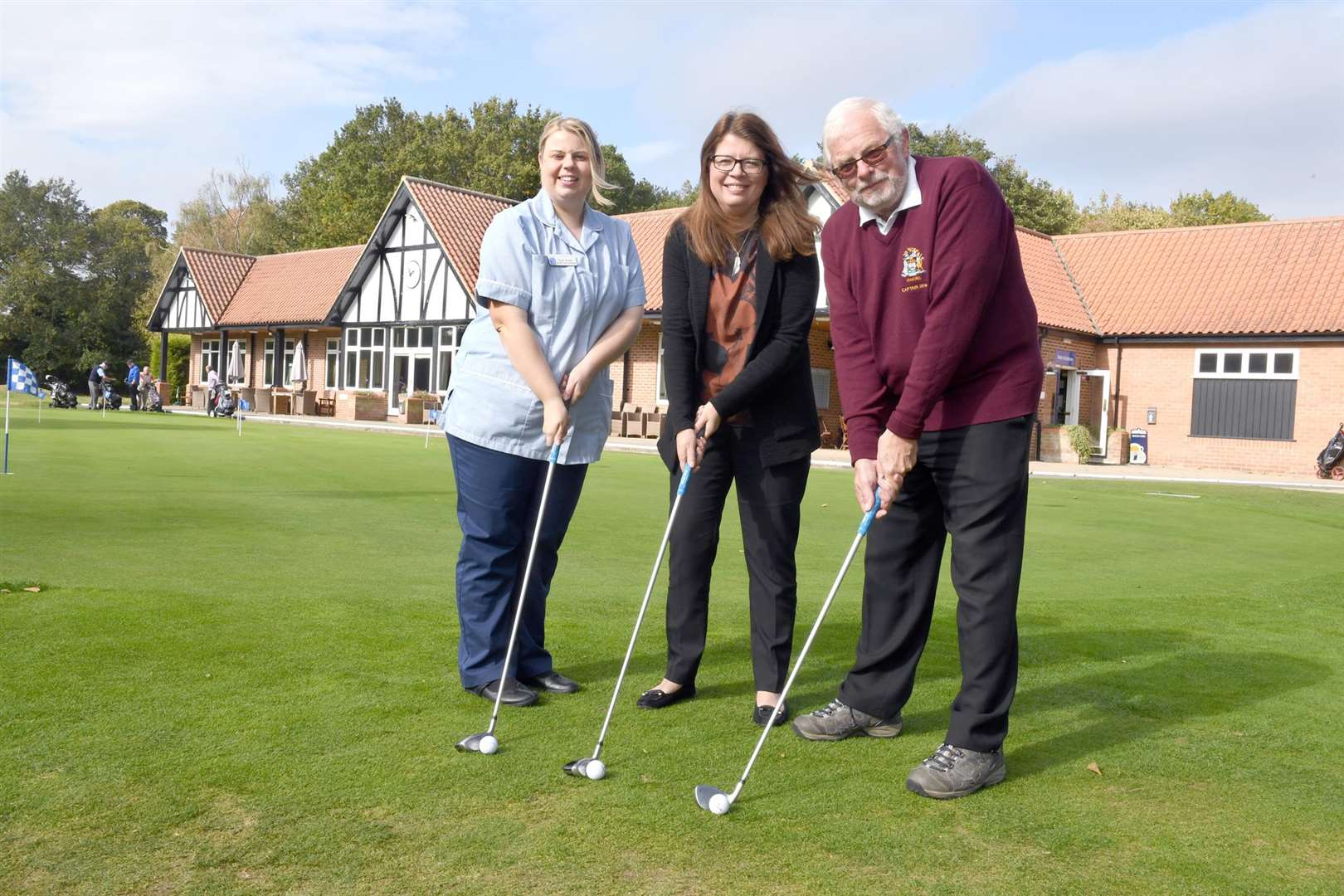 Newark Golf Club Seniors present cheques to charities after fundraising throughout the year..L-R Mrs Rose Turner - health and care assistant at Beaumond Hospice, Mrs Kate Baxter - Childrens' Bereavement Centre, director, Keith Martin Seniors' Captain.. (4608039)
