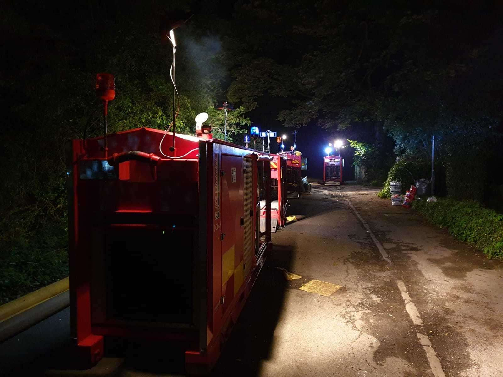 Fire crews from Newark and Collingham are still helping with Whaley Bridge. Photo credit: @NottsfireOnCall